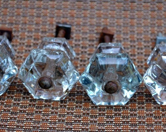Vintage Antique Four Glass Dresser/Cabinet Knobs Hexagon Shape
