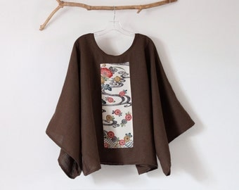 over size brown linen top with vintage kimono panel ready to wear