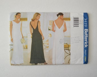 1990s UNCUT Butterick Easy Sewing Pattern 5419 Womens Fitted Bias Cut Pullover Dress w/ Drape Front Neckline & V Back Size 6,8,10