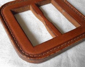 VINTAGE Thick Stitched Leather Slide Belt Buckle