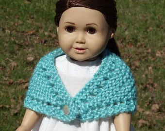 18 inch knitted Prarie Style Doll Shawl - Sea Green - Bulky Yarn - Antique Button