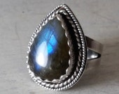 Labradorite Ring Flashy Teardrop Sterling Silver Statement Ring