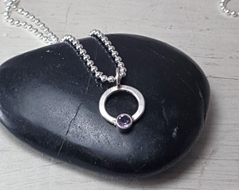 Amethyst No Frills Purple Necklace -- Sterling Silver Circle Gemstone Pendant