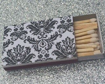 10 Matchbox Wedding Favors Black and White Damask Brocade Floral Napoleon Romantic Classic Personalized Custom Sparkler Perfect Match Cigar