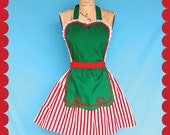 CHRISTMAS apron,  womens and kids aprons  Mother and  Daughter aprons ,full apron in green with red stripes Santas Helper or Elf apron