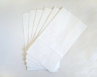 Small White Paper Bags - Set of 18 - 8 5/8 x 4 5/8 x 2 7/8 inches - Free US Shipping