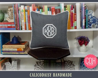 Framed Octagon or Circle Monogrammed Pillow Cover - 14 x 14