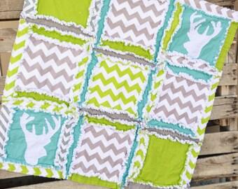Deer Nursery Mini Crib Bedding Rag Quilt - Green / Grey / Turquoise Comforter - Rag Blanket - Rustic Baby Bedding Tribal Nursery- Deer Quilt