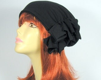 "Extra Slouchy 100% Black Cotton Slouch Hat""BREATHES""Elegant Lightweight Slouchy Beanie Chic All Cotton Hats for Hair Loss Chic Chemo Caps"