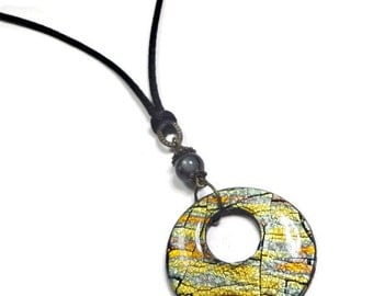 Black & Gold Statement Necklace-Resin Pendant- Polymer Clay Jewelry- Summer Jewelry