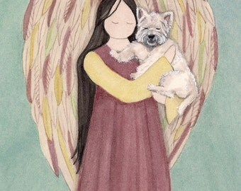 Angel in rust dress cradles West Highland Terrier (westie) / Lynch signed folk art print