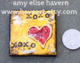 XOXO little heart painting 2x2