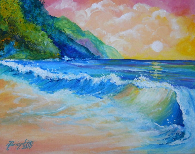 North Shore Sunset print 8x10 from Kauai Hawaii Kee Beach ocean wave Kauai seascape