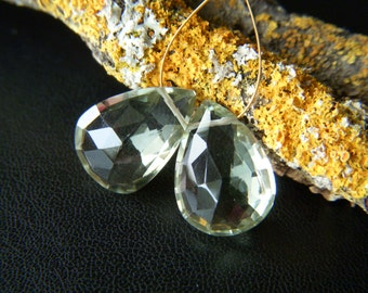 Sparkling Prasiolite Faceted Drops - Pair - 10x14mm