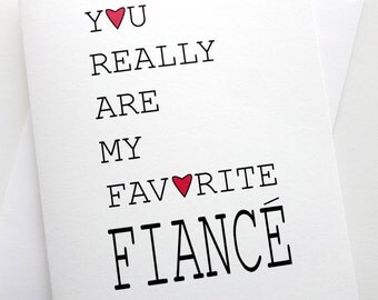 Fiance Card - Favorite Fiance Card - Anniversary - Birthday - Wedding - Groom