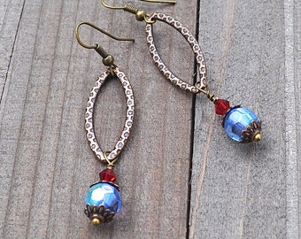 Enchanted Awakenings Bronze Artisan Earrings With Faceted Blue & Siam Red Crystals Bohemian Style Boho Art Wear