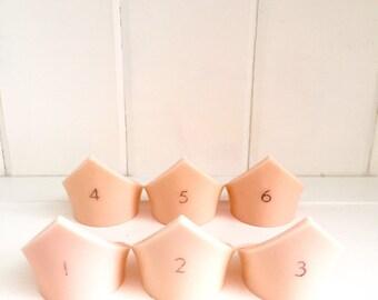 Set of 6 retro vintage plastic peach napkin ring holders