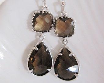 Brown Crystal Earrings, Slver Edged Crystal Dangles, Two Tier Earings, Smoky Topaz, Wedding Jewelry