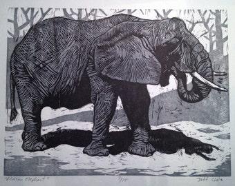 African Elephant woodcut print