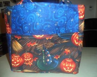 witch hats broom blue halloween pumpkin tote bag/purse/ diaper bag