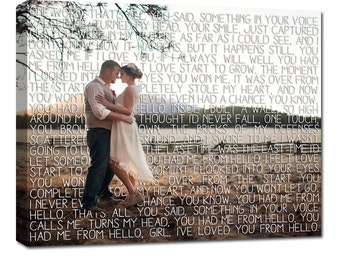 Gifts for Couples/  First Dance Lyrics/ Custom Canvas / Your Wedding Photo with your Lyrics/ Photo Gift ideas/ Personalized Couple