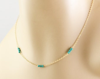 Simple Turquoise Necklace, Minimal Necklace, Gold Turquoise Necklace