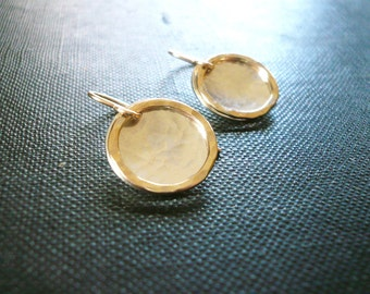 Silver and Gold Circle Earrings - Hammered Sterling Silver and Gold Filled Sun Earrings - Mixed Metal Small Circle Drop Earrings