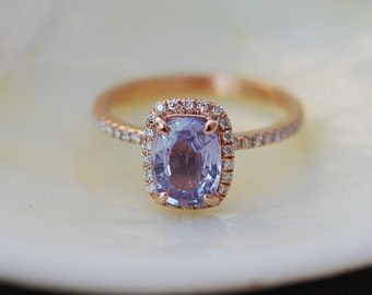 Lavender sapphire ring engagement ring 1.58ct Cushion lavender peach champagne sapphire 14k rose gold diamond ring