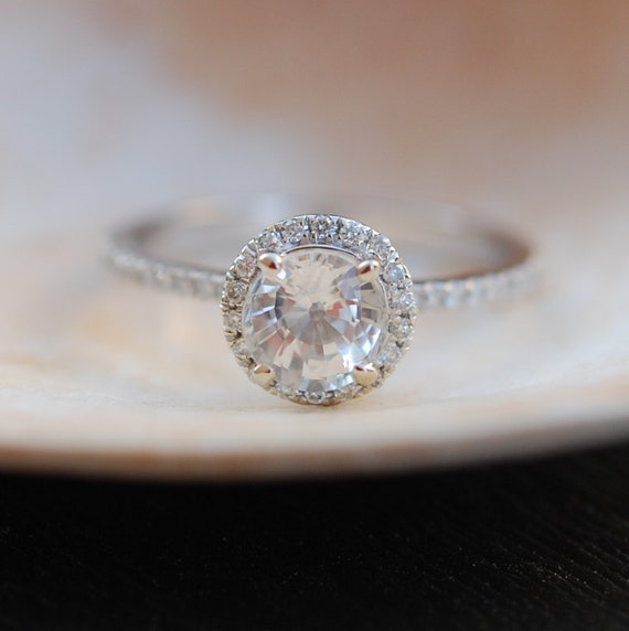 White sapphire ring. Whitegold engagement ring. Diamond halo ring. 1.12ct round white sapphire ring by Eidelprecious.