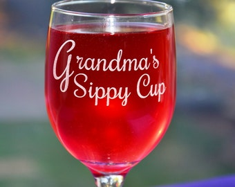 Personalized Engraved Custom Keepsake Wine Glass, Mothers Day Gift, Mom's Birthday, Grandmas Sippy Cup, New Mom, Mum Gift, Nana Gift