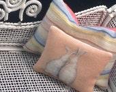 TINY 1:12 scale miniature dollhouse pillow  Katie Arthur shabby bunny A849