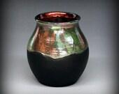 Raku Pottery, Raku Pot in Metallic and Iridescent Colors