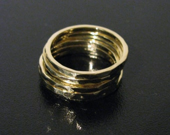 Set of 3 Hammered Handmade Solid Gold Stacking Rings Midi, or Thumb 14K, 18K, or 22K Yellow White or Rose