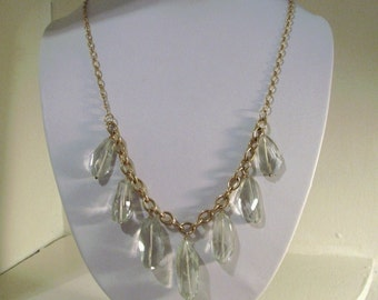 Natural Green Amethyst Chunky Dangle Statement Necklace...14K Gold Filled