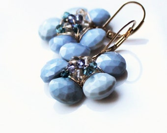Opal Blue Flower earrings
