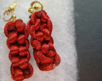 Hand Crafted Cranberry Woven Dangle Earrings
