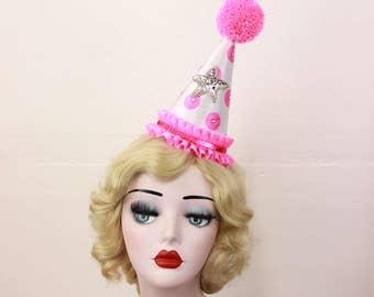 Pink Clown Hat, Circus Costume, Kids Birthday Party Hat, Cosplay Clown, Girls Party Hat, Scary Clown, Sexy Clown, Halloween Costume