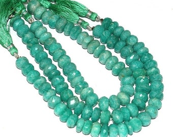 """55% Sale 2x8"""" Strand 7-7.5mm 92-93 beads Finest Quality Natural Brazilian Amazonite Faceted Rondelle Beads Semiprecious Gemstone Beads"""