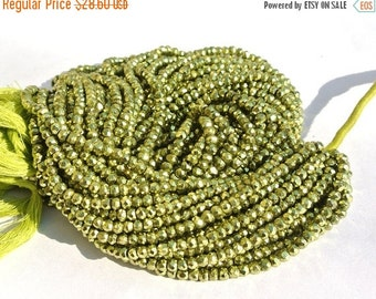 55% OFF SALE Metallic Peridot Green Coated Pyrite Micro Faceted Rondelles Length 14 Inches Size 3.5mm approx
