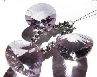 55% OFF SALE Genuine AAA Pink Amethyst concave cut heart shaped briolettes 14x14mm 3 Piece set matched pair and a focal