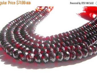 50% Off Valentine day 8 Inches - Finest Quality Genuine Garnet Micro Faceted Rondelles Size 7mm approx