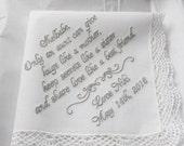 Bride to Aunt Custom Wedding Handkerchief, Wedding Hankie, Custom Hankys