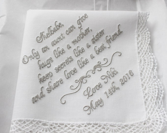 Bride to Aunt Custom Wedding Handkerchief, Wedding Hankie, Custom Hankys