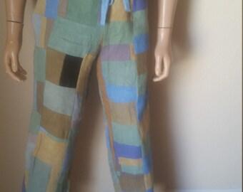 Herman Hemp patchwork pants Mens SX 32 Made in USA
