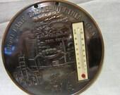 Vintage Thermometer Round Metal Reno- Lake Tahoe-Virginia City Nevada Souvenir