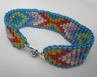 summer turquoise and red hand-loomed square stitch bracelet - native american pattern