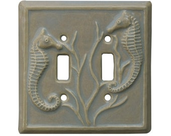 Seahorses Ceramic Light Switch Cover- Double Toggle Switch Plate in oyster glaze