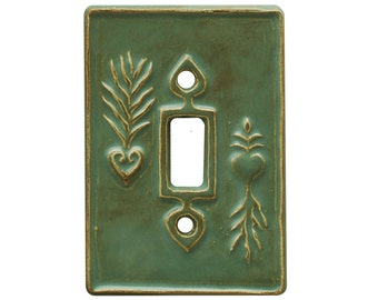 Charms Single Toggle  Light Switch Cover in  Antique Teal  Glaze