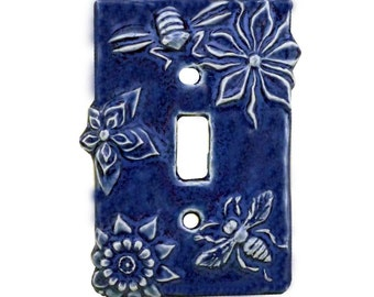Honeybees Ceramic Single Toggle Light Switch Cover in Sapphire Blue Glaze