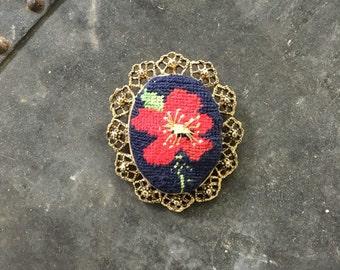 Vintage Embroidered Floral Brooch Pendant